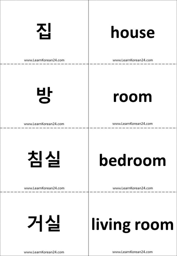 Rooms Of The House In Korean - Flashcards